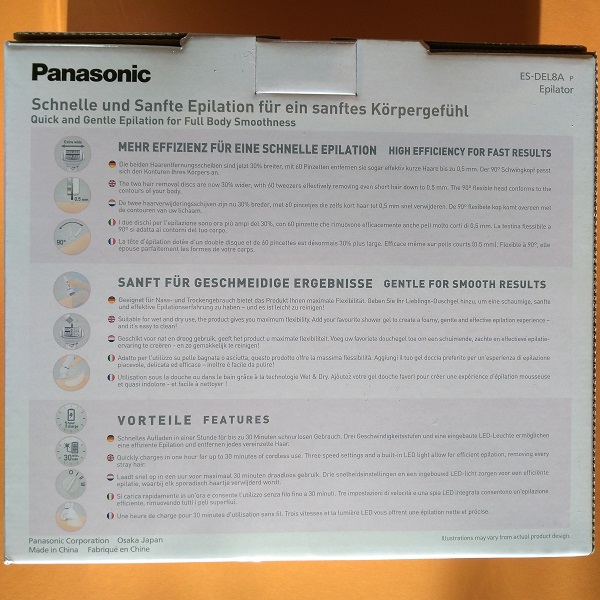 Panasonic EL-Epilierer ES-DEL8A  Verpackung