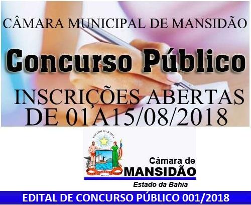 Câmara Municipal de Mansidão (BA) realiza Concurso Público