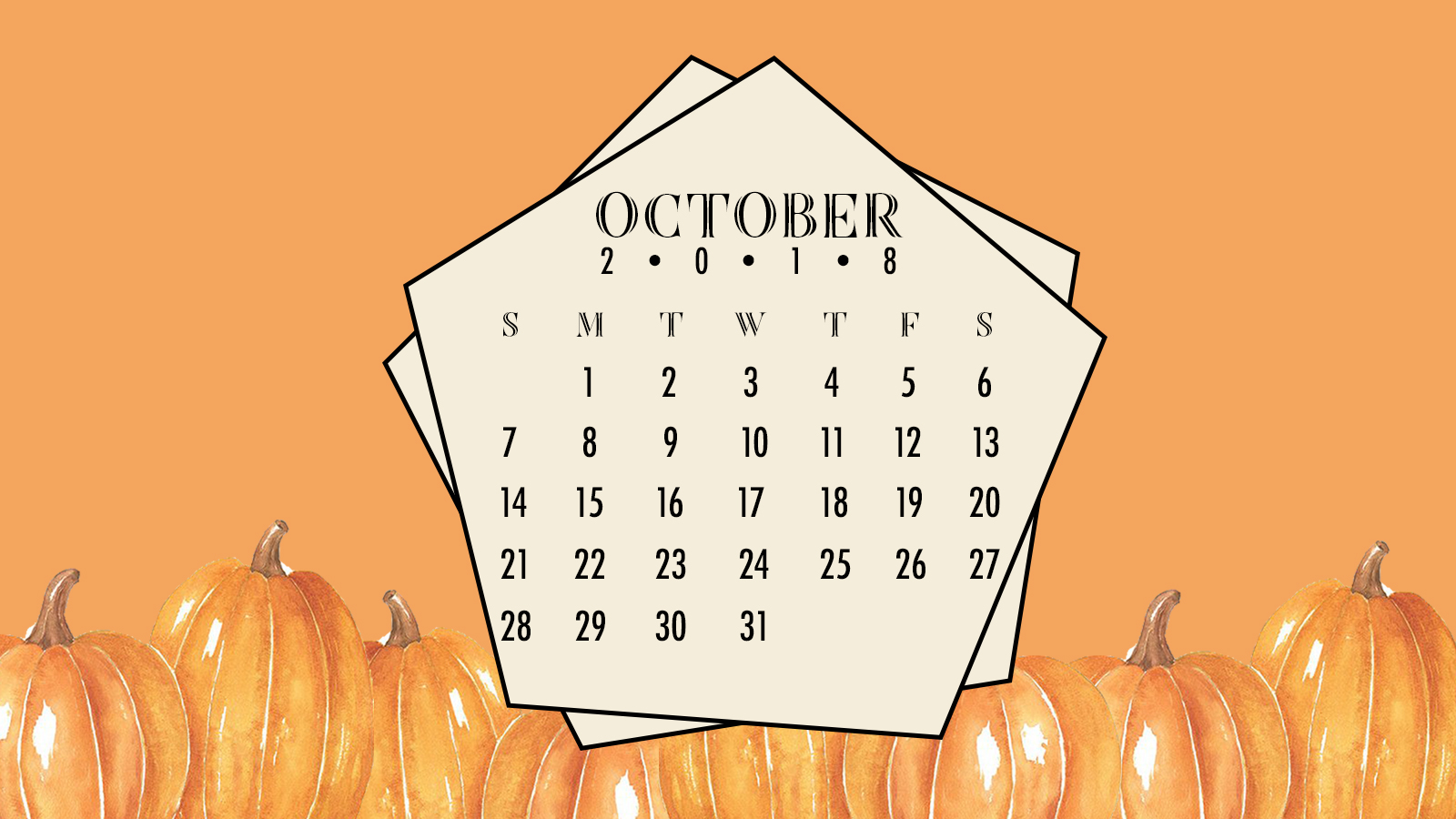 free desktop digital calendar - october 2018