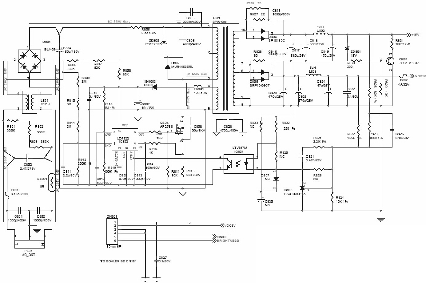 smps power supply regulator schematic diagram circuit picture