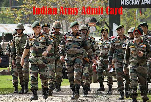 Indian Army Admit Card