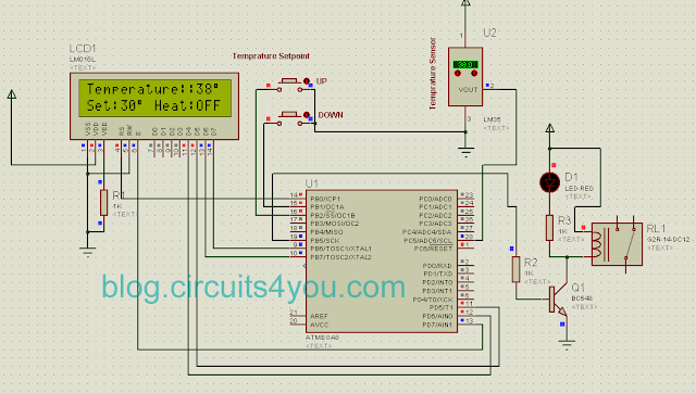 AVR Microcontroller based Temperature Controller project circuit diagram