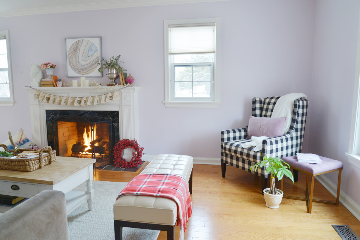 valentines day mantel, buffalo plaid chair | Ramblingrenovators.ca