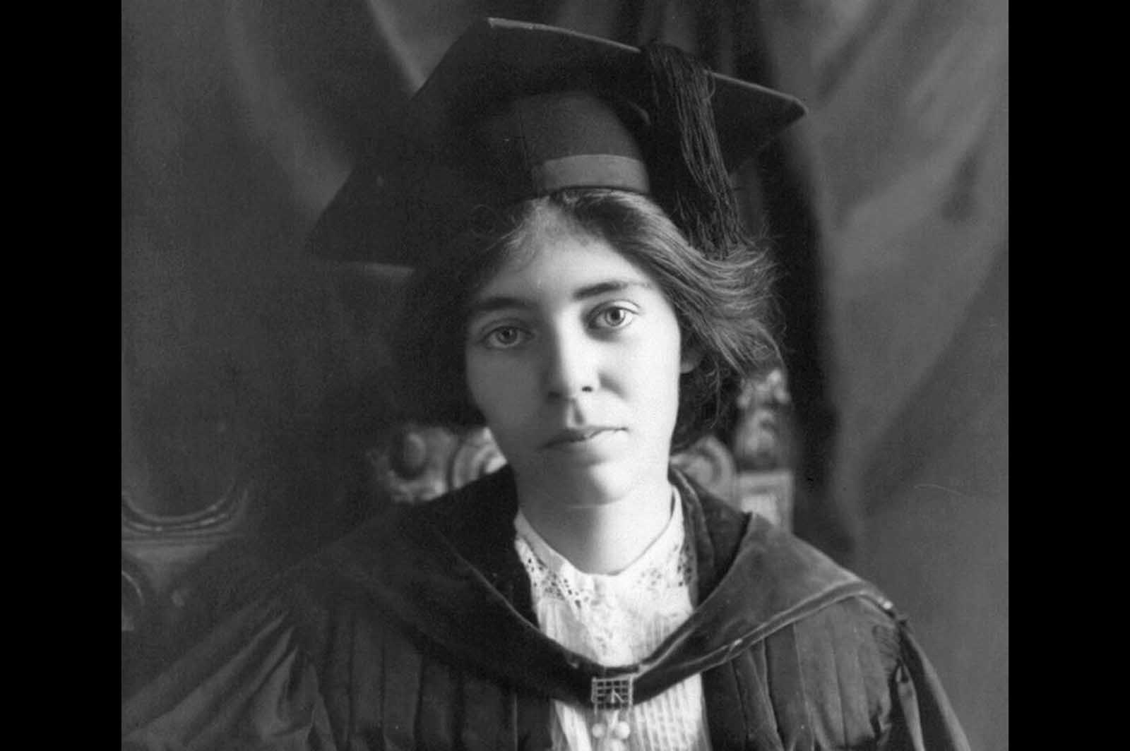 Suffragist Alice Paul, in a 1913 photograph. Paul was born in New Jersey, earned an M.A. and Ph.D. from the University of Pennsylvania, then traveled to England and became friends with members of the women's suffrage movement there. She soon became very active herself, and, on returning to the United States soon after, joined the National American Woman Suffrage Association (NAWSA). Her first actions as part of NAWSA were to organize a massive parade in Washington, District of Columbia, to promote a new constitutional amendment that would guarantee women's right to vote in the U.S.