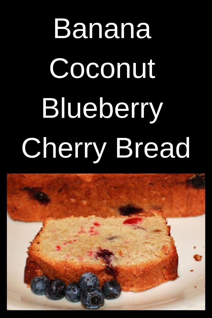 this is a banana bread with blueberries and coconut. A recipe on how to make this from scratch