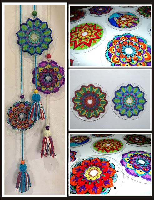 Mandalas con borlas de lana y cuentas de madera