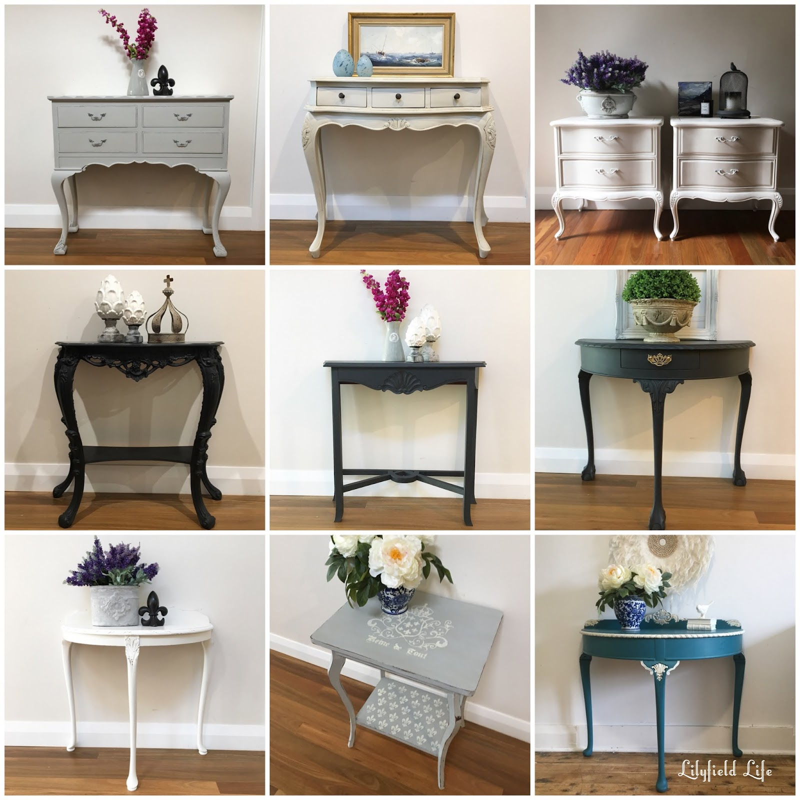 Elegant Beautiful Hand Painted Vintage Console Tables   Perfect For Your Hallway.  By Lilyfield Life