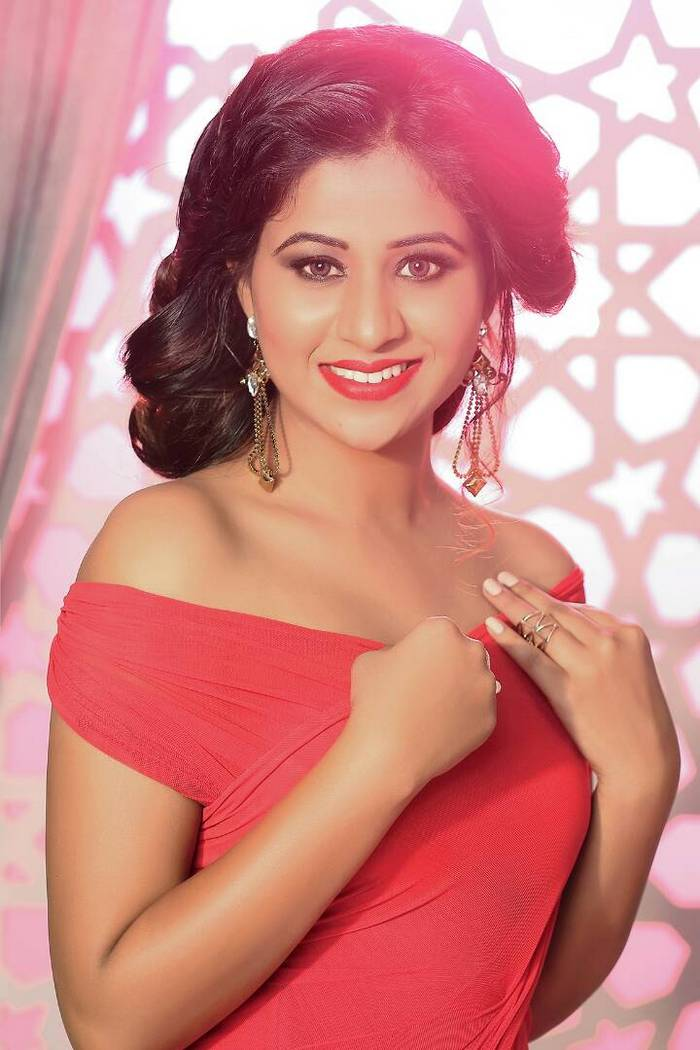 Actress Manali Rathod In Red Dress Hot Photoshoot