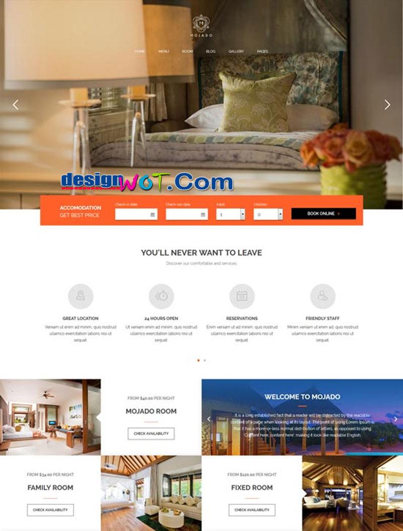Mojado - Mobile Friendly Hotel WordPress Theme