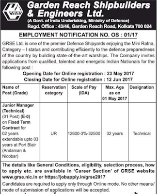 GRSE Recruitment 2017 grse.nic.in Notification Apply Online Form