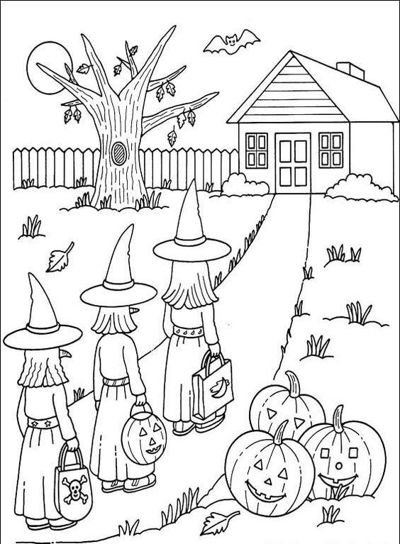 Tranh tô màu phù thủy Halloween