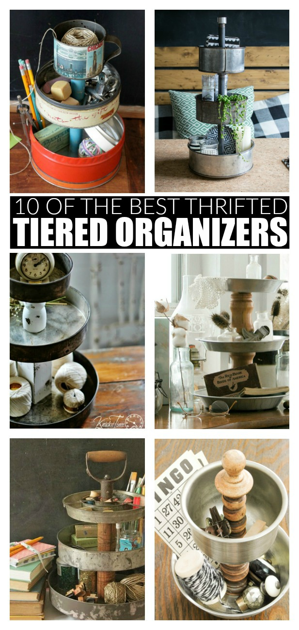 Organizer, farmhouse, tiered tray, storage, thrifted makeover