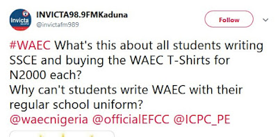 students writing SSCE and buying the WAEC T-Shirts for N2000 each