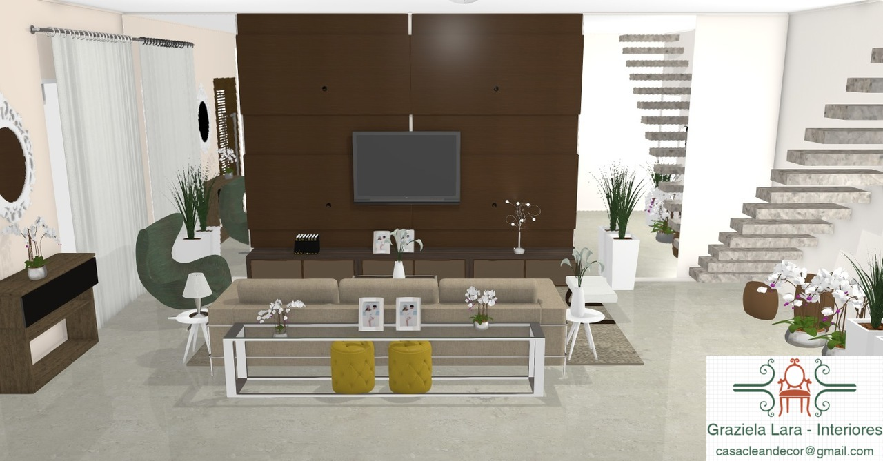 Construindo Minha Casa Clean 30 Salas Decoradas Com Escadas  -> Meia Parede Entre Sala E Cozinha