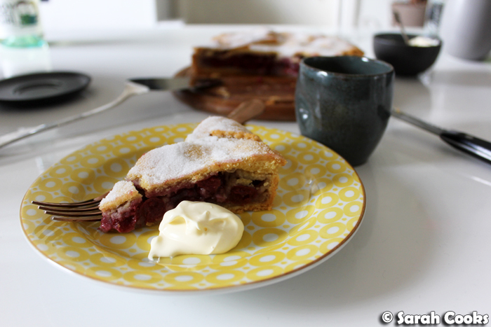Slice of Cherry Pie with Cream