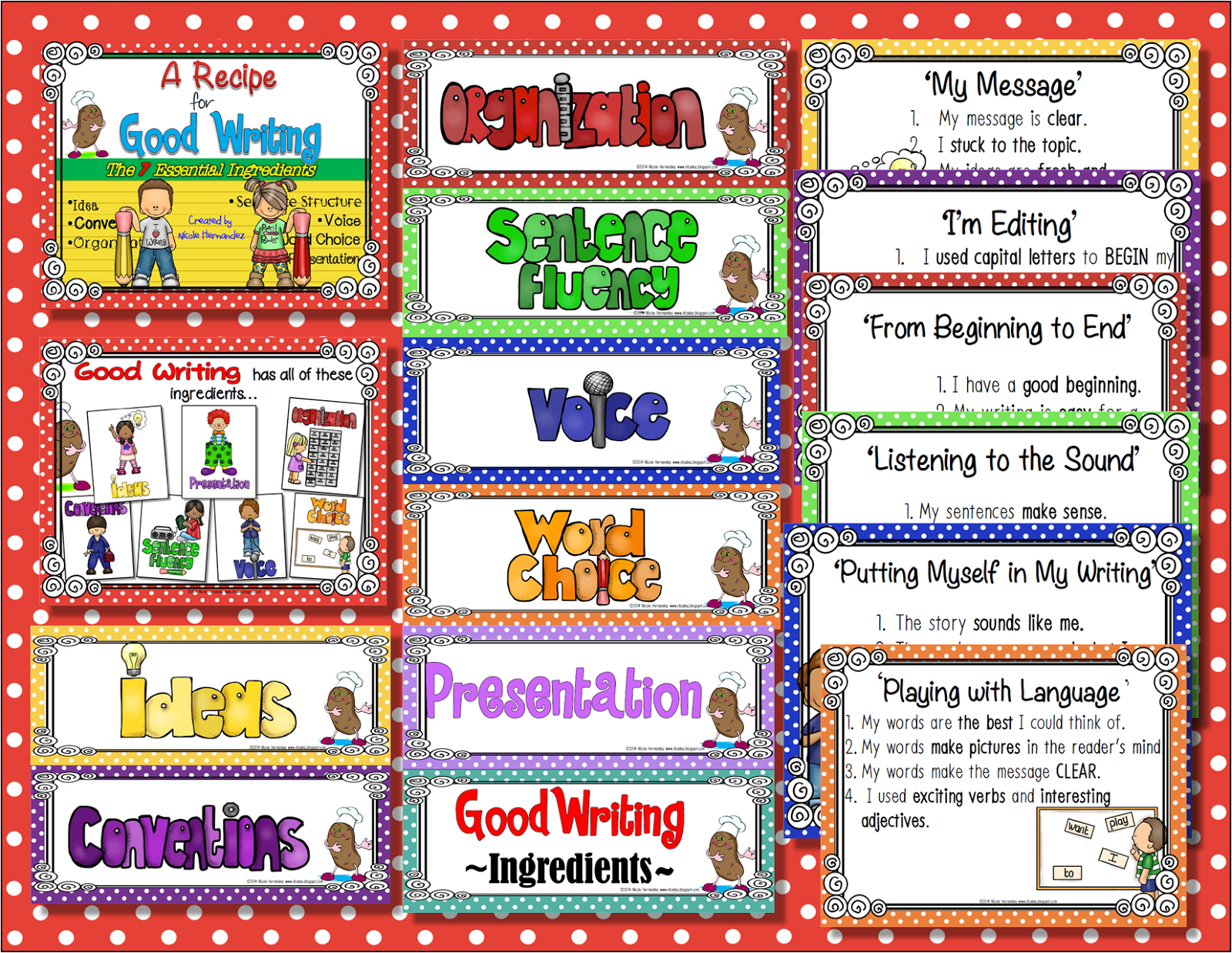 http://www.teacherspayteachers.com/Product/A-Recipe-for-Good-Writing-The-7-Essential-Ingredients--1184482