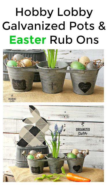 Easy Hobby Lobby Easter Craft Projects #Easterbunny #buffalocheck #oldsignstencils #dixiebellepaint #rubontransfer #hobbylobby #Easterdecor