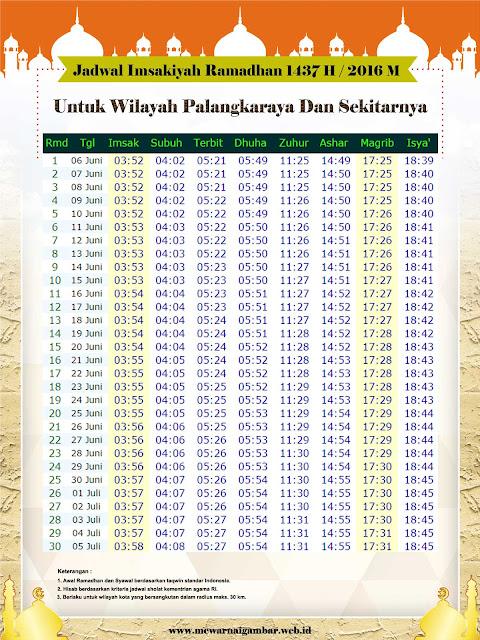Jadwal Imsakiyah Palangkaraya Ramadhan 1437 H Tahun 2016
