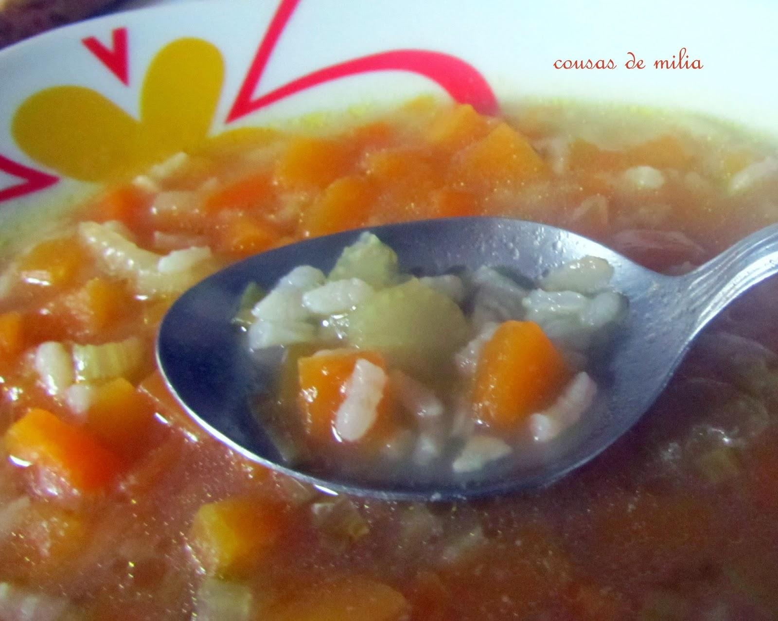 Sopa de calabaza, apio y arroz