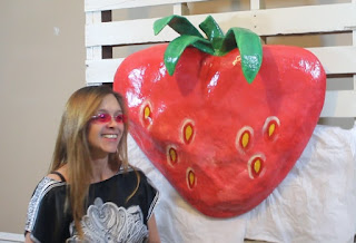 Finished Juicy Paper Mache Strawberry and Artist Charisse