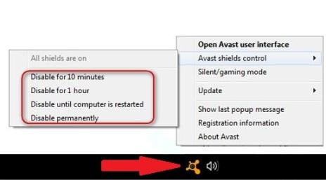 how to switch off avast antivirus