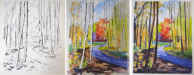 Three photographs of a watercolor painting in various stages