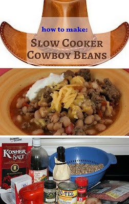 Cowboy Beans in the Slow Cooker -- a smoky, slightly spicy, tangy and delicious bean dish that is hearty enough for a main course, but could also be a side dish at a potluck.
