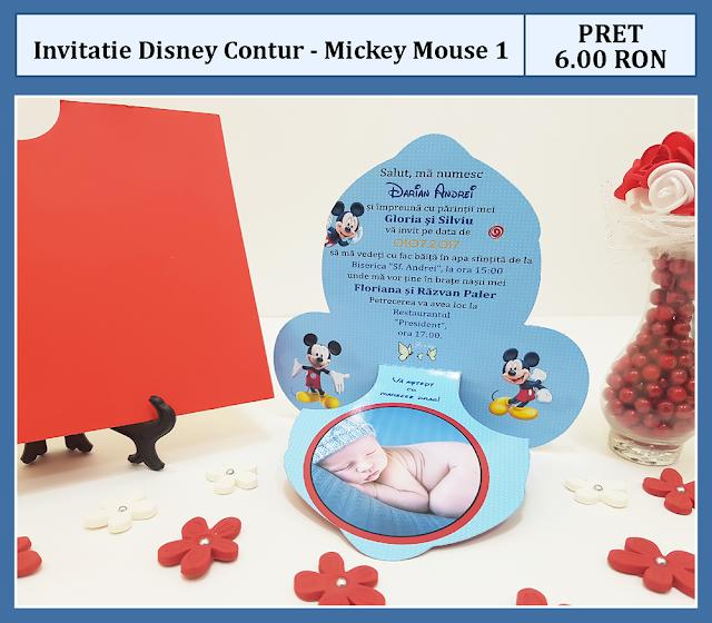 invitatii botez contur Mickey Mouse 1
