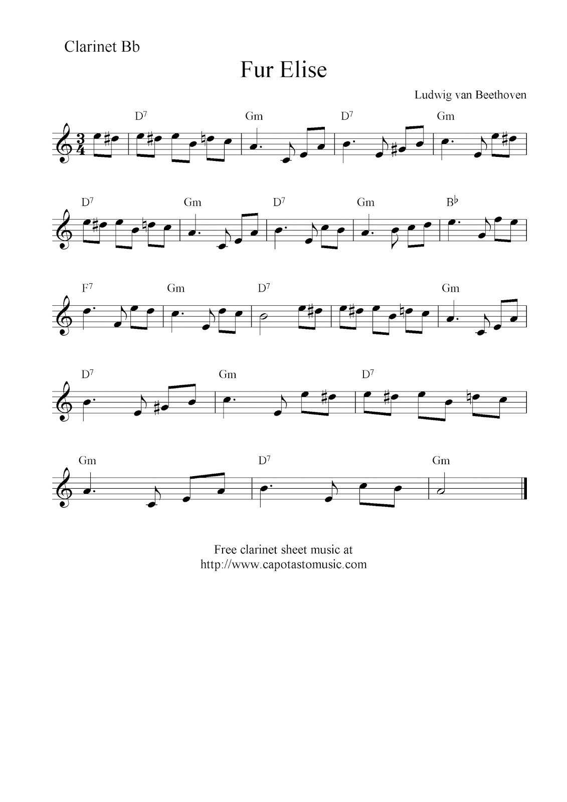 graphic relating to Free Printable Clarinet Sheet Music titled Fur Elise, absolutely free clarinet sheet songs notes