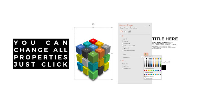 Useful 3D Cube Design Elements for PowerPoint Template with Summary of Editable items