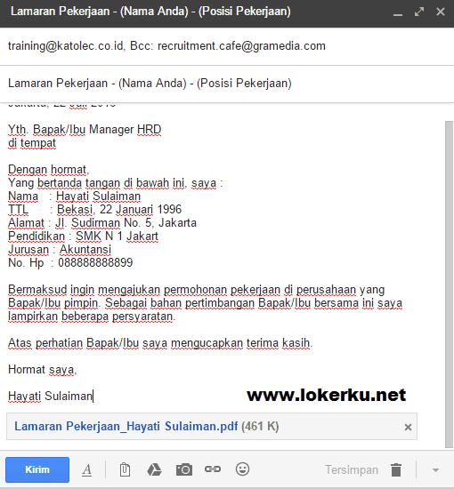 Contoh CV Email