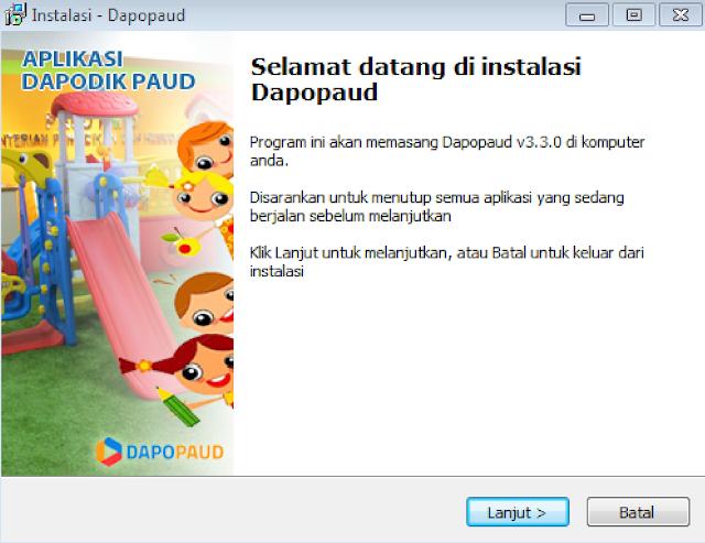 tampilan awal saat instal aplikasi dapodik paud