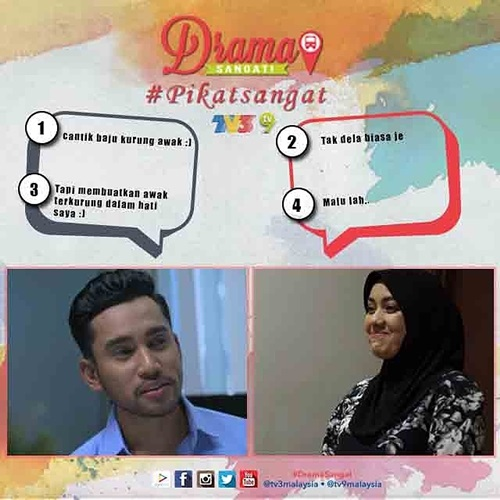 peraduan pikat sangat menerusi #dramasangat tv3, gambar peraduan pikat sangat – buat ayat pikat line, pemenang peraduan drama sangat tv3