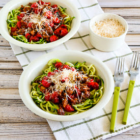 Zucchini Noodles with Spicy Cherry Tomato, Sausage, Garlic, and Herb Sauce found on KalynsKitchen.com