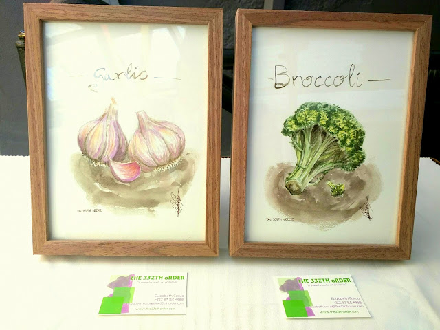 tHE 33ZTH kITCHEN garlic and broccoli by Elizabeth Casua, tHE 33ZTH oRDER. Watercolour artwork.