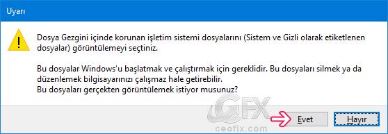 Gizli dosya ve klasörler veya sistem dosyaları nasıl gösterilir? www.ceofix.com