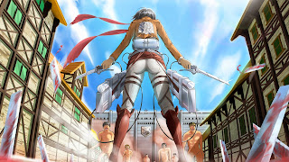 Tapeta przedstawiająca Mikasę Ackerman próbującą stawić czoła grupie tytanów