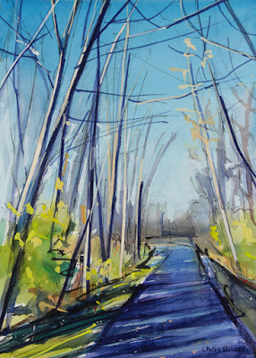 A watercolor painting of a walking path in the woods.