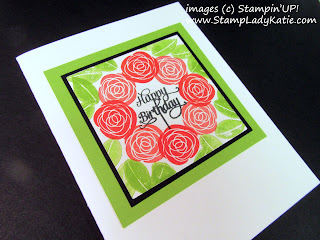 Rose image from Stampin'UP!'s Cake Soiree stamp set made into a wreath using a template with the Stamparatus.