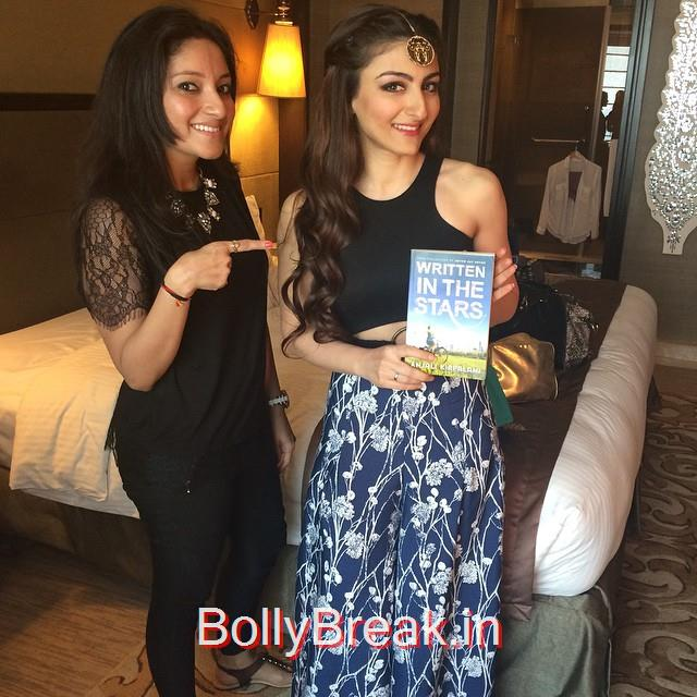 ta da! @sakpataudi is reading written int hest ars , available on amazon and in a store near you books , book 2 , soha ali khan , bollywood , beautiful , reading , writing , stars , authors , author life , mumbai , india ,, soha Ali Khan hot Pics from Lakme Fashion week 2015