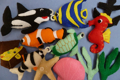 Felt fish for a magnetic fishing game toy
