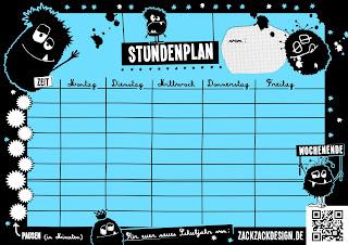gutelauneblog - von zackzackdesign.de: schulanfang  stundenplan