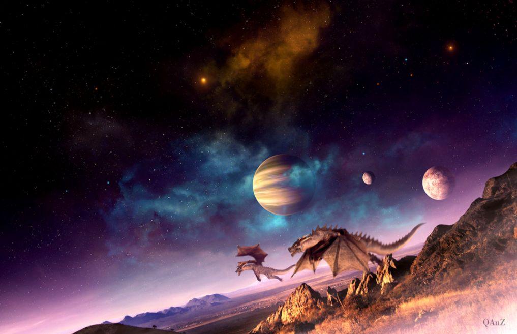 Dreamy Fantasy Outer Space Dragon Creative Wallpaper | Wallpapers Genius