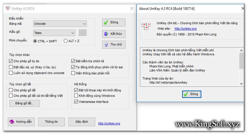 Download UniKey 4.3 RC4, Build 180714 Final,Phần mềm gõ tiếng Việt số 1