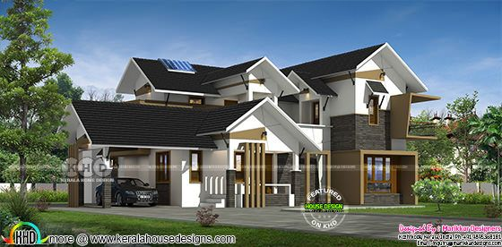 2550 square feet 4 bedroom sloping roof home plan
