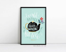 Jane Austen Print on Etsy with review by Tomes and Tequila blog
