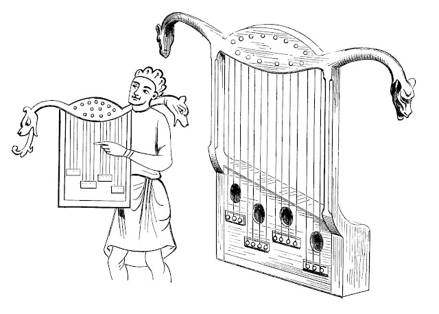 A 1200s musician with instrument