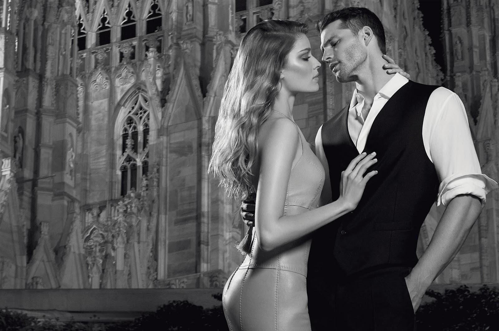 Modello e modella Trussardi profumo Uomo e Donna con Foto