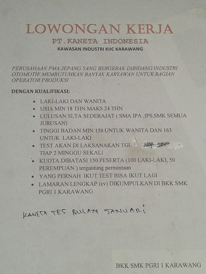 Lowongan Kerja PT Kaneta Indonesia KIIC Karawang - Berita