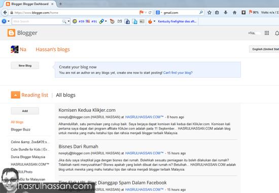 Cara buat blog menerusi blogspot